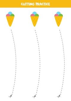 Cutting practice for children with cute cartoon ice cream.