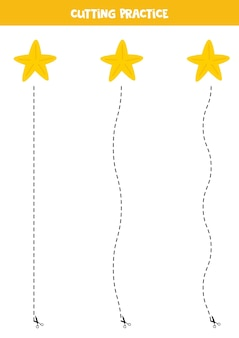Cutting practice for children with cute cartoon starfish.