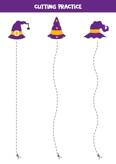 Cutting practice for children with halloween wizard hats.