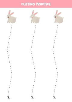 미취학 아동을위한 절단 연습. 파선으로 자릅니다. 귀여운 토끼.