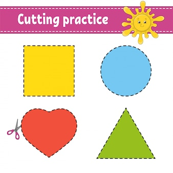 Cutting practice for kids. education developing worksheet. activity page with pictures.