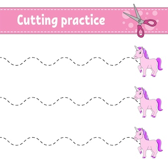 Cutting practice for kids fairytale theme