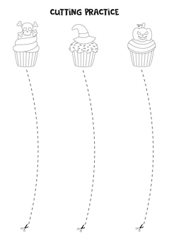 Cutting practice for preschool kids. cut by dashed line. black and white halloween cupcakes.
