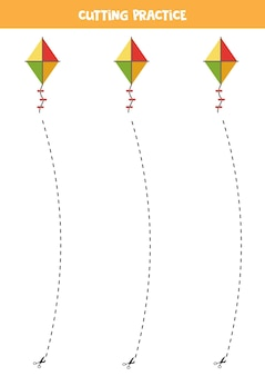 Cutting practice for preschool kids. cut by dashed line. cartoon kite.