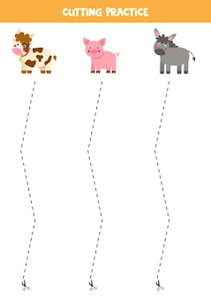 Cutting practice for preschool kids. cut by dashed line. farm animals.