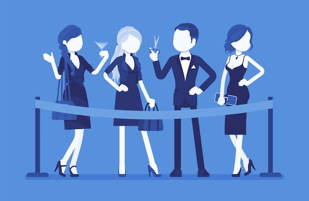 赤いリボンのセレモニーをカット。正式なオープニングイベント、新しいビジネスの開始、正式な公共の機会、お祝いパーティーの開始でエレガントな若者のグループ。顔のないキャラクターのイラスト