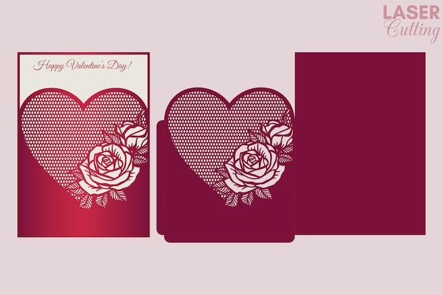 Cutting template for valentine's greeting card cover, pocket envelope with roses pattern.