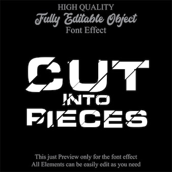Cutting text style editable font effect