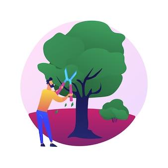 절단 나무와 관목 추상적 인 개념 그림. 원예 서비스, 조경 유지, 가지 치기, 병든 가지, 죽은 가지, 부서진 가지 제거, 나무 모양 만들기.