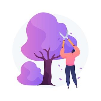 木や低木を切る抽象的な概念ベクトルイラスト。ガーデニングサービス、景観維持、剪定、病気の枝、枯れた枝、壊れた枝の除去、樹木の抽象的な比喩。