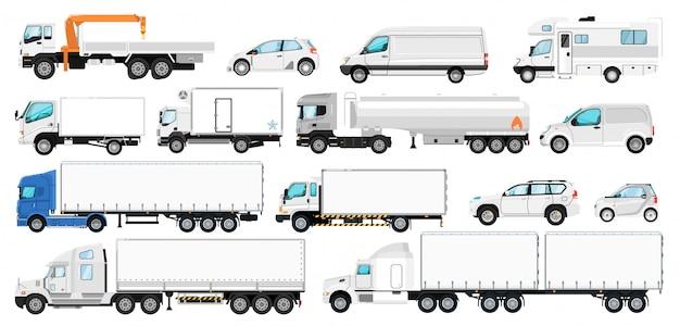 車両のブランド化。ブランディング用のトランスポートテンプレート。孤立した空白の白い側のタンカートレーラー、トラック、バン自動車、キャンピングカー、cuv車のアイコンコレクションを模擬。貨物、乗用車
