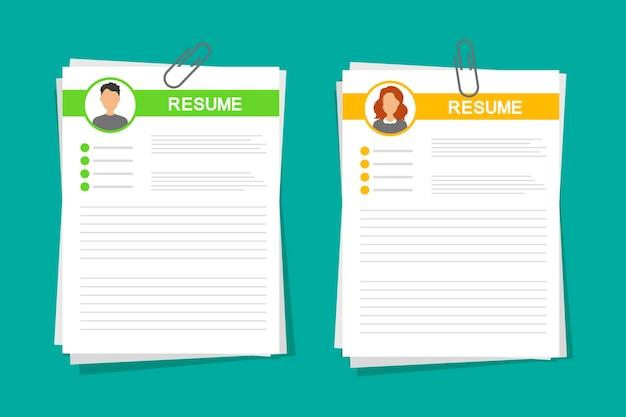 Cv application set. business man and women resume form.