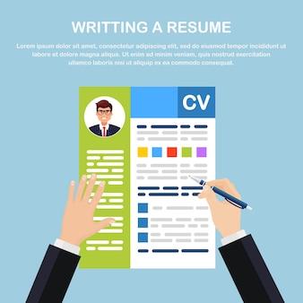 Cv бизнес резюме в руке. собеседование, набор, концепция поиска работодателя