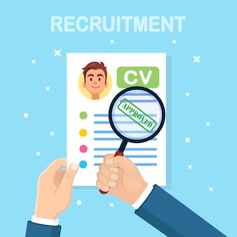 Cv business resume and magnifying glass in hand d on background. job interview, recruitment, search employer, hiring concept. human resource hr concept.
