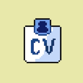 Cv document icon with pixel art style