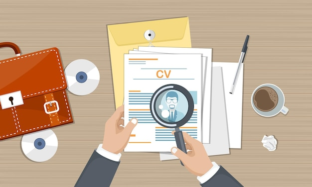 Cv papers on desk with documents and magnifying glass, top view
