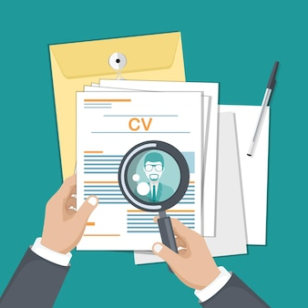 Cv papers illustration for hiring new people for the job