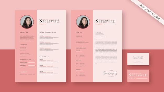Cv履歴書と名刺、モダンなデザインテンプレートで設定された文房具