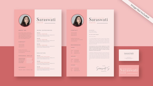 Cv resume and business card, stationery set with modern design template