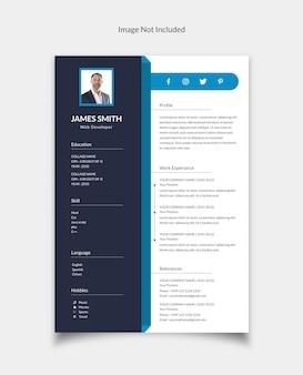 Cv resume curriculum vitae template design for web developer