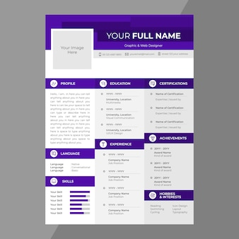 Cv / resume design with line icons
