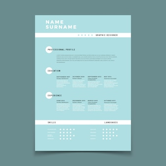 Cv resume. employment application form with job description vector template
