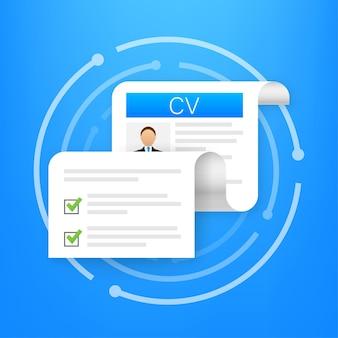 Cv резюме. концепция собеседования. написание резюме. ноутбук с личным резюме. векторная иллюстрация