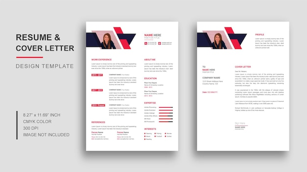 Cv or resume template design with cover letter