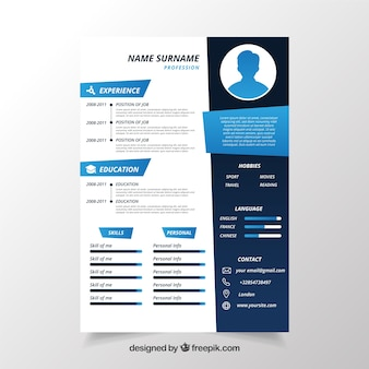 Cv template vectors photos and psd files free download cv template in blue yelopaper Images