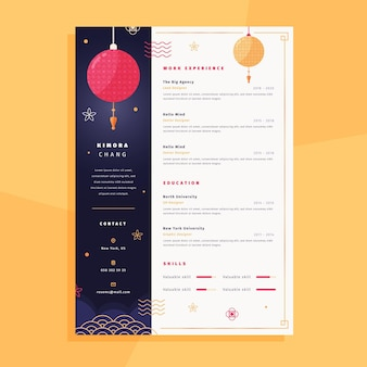 Cv template with chinese elements
