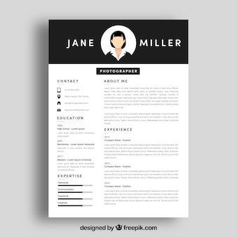 Cv template with top in black