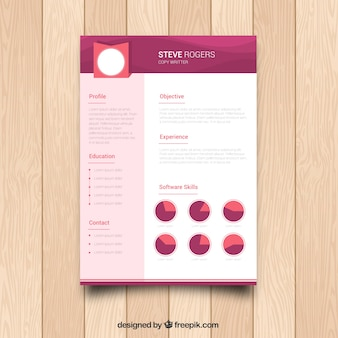 Cv with graphic in flat design