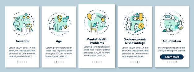 개념이 있는 모바일 앱 페이지 화면을 온보딩하는 cvd 위험 요소. 정신 건강 문제, 유전학 연습 5단계 그래픽 지침. rgb 컬러 일러스트가 있는 ui 벡터 템플릿