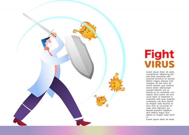 Иллюстрация борьбы с коронным вирусом cvid-19. вылечить вирус короны. доктор бой вирусная концепция