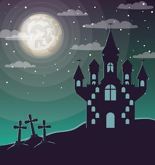 ハロウィーンのお祝いcwith墓地と城のシーン