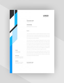 Cyan & black color creative letterhead template design.