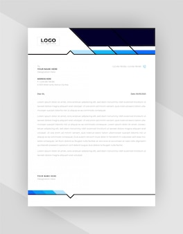 Cyan & blue color creative letterhead template design.