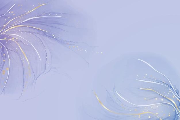 Голубой синий жидкий мраморный акварельный фон с золотыми линиями