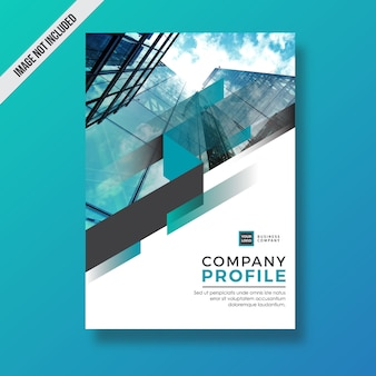 Cyan modern abstract element company profile design