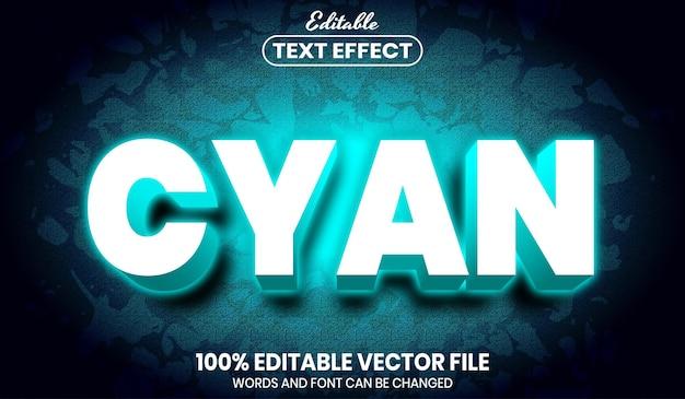Cyan text, font style editable text effect