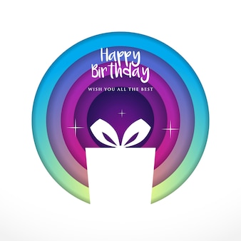 Cyan to Purple Paper art showing silhouette of Birthday Box