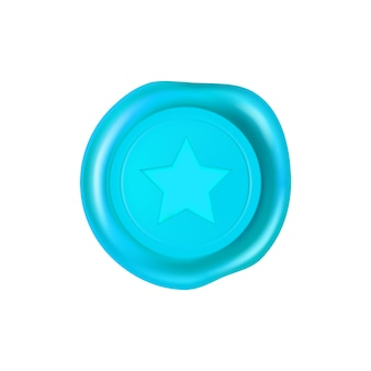 Cyan wax seal with a star in the middle