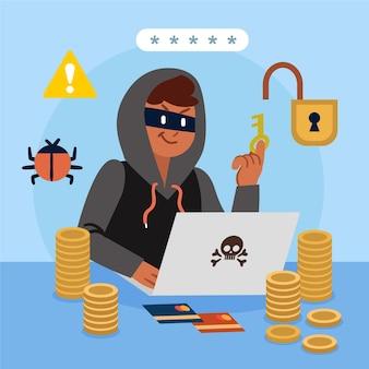 Concetto di attacco informatico con hacker