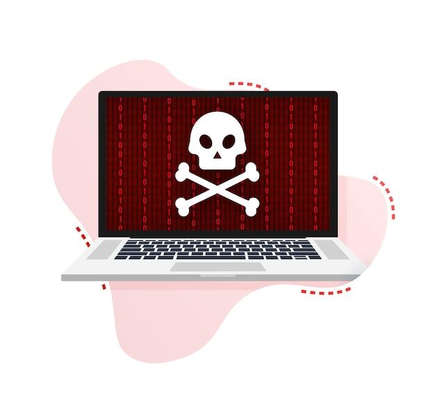 사이버 공격. 낚시 바늘, 노트북, 인터넷 보안을 사용한 데이터 피싱. 벡터 재고 일러스트 레이 션.
