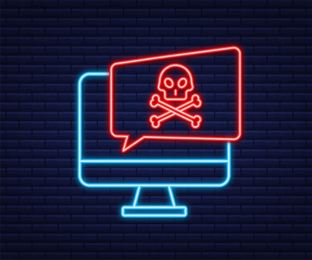 Кибератака. фишинг данных с рыболовным крючком, монитором, интернет-безопасностью. неоновая иконка. векторная иллюстрация штока.