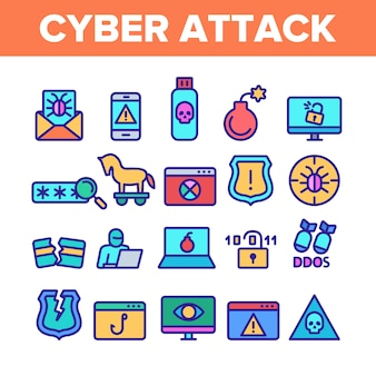 Набор иконок элементов кибер-атаки