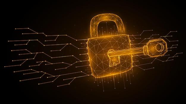 Cyber attack low poly art polygonal vector illustration of a key unlocks a lock