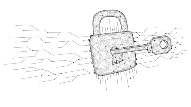사이버 공격 낮은 폴리 아트. 키의 다각형 벡터 그림은 잠금을 해제합니다.