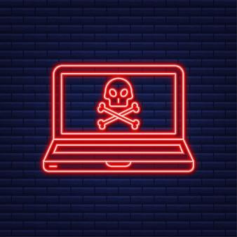 사이버 공격. 네온 아이콘입니다. 낚시 바늘, 노트북, 인터넷 보안을 사용한 데이터 피싱. 벡터 재고 일러스트 레이 션.