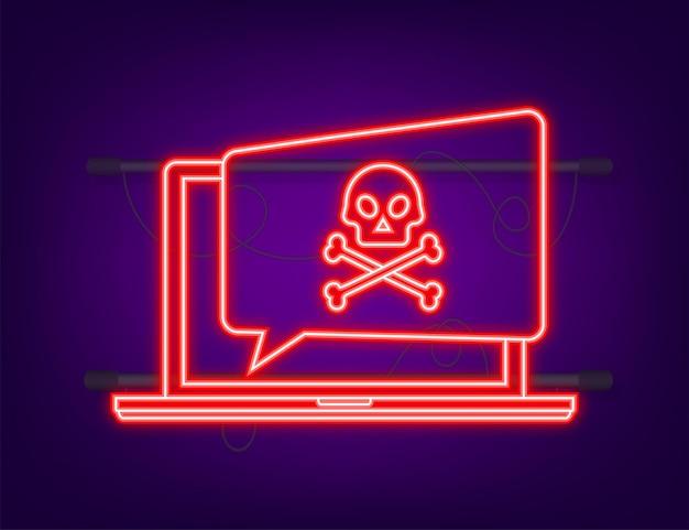 사이버 공격 네온 아이콘 데이터 피싱 낚시 후크 노트북 인터넷 보안